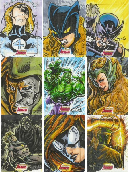 "11"" x 14"" HULK pencil drawing! + Avengers sketch cards for Marvel!"
